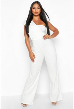 Womens White One Shoulder Drape Jumpsuit