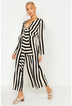 Black Stripe Twist Tie Flare Sleeve Jumpsuit