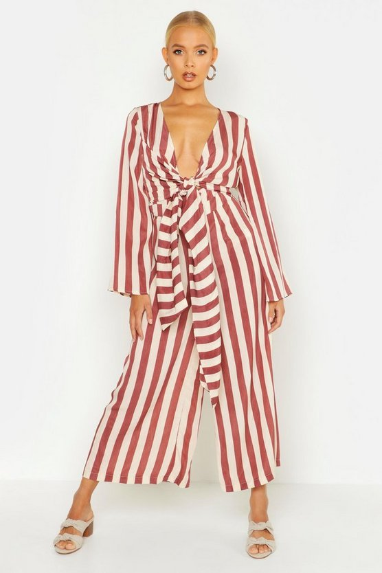 Womens Red Stripe Twist Tie Flare Sleeve Jumpsuit