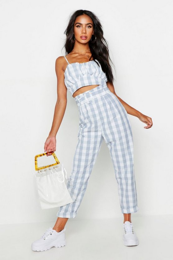 Womens Blue Paperbag Belted Gingham Peg Trousers