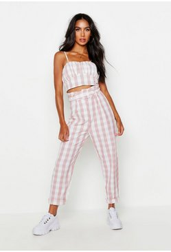 Womens Pink Paperbag Belted Gingham Check Peg Trousers