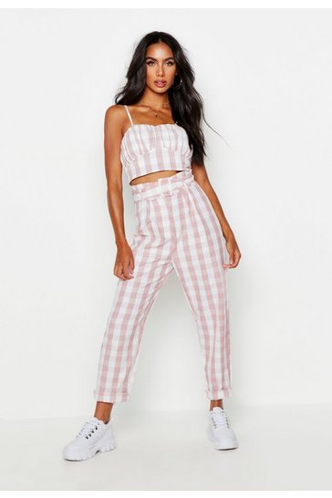 Womens Paperbag Belted Gingham Check Peg Trousers