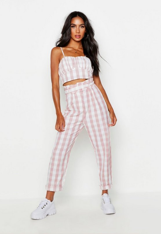 Paperbag Belted Gingham Peg Pants