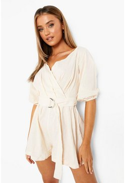 White Linen Mix Bardot Belted Wrap Romper