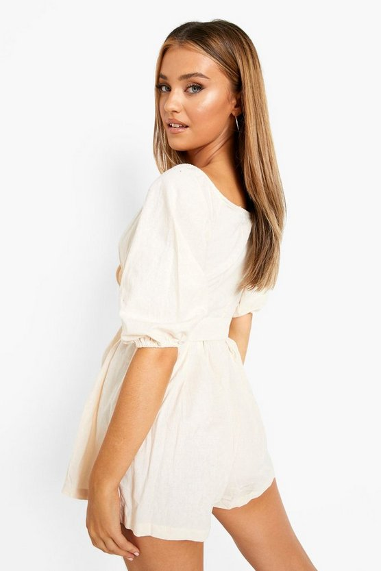 Linen Mix Bardot Belted Wrap Playsuit