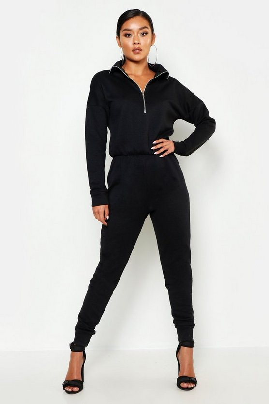 Womens Black Zip Up High Neck Sweat Jumpsuit