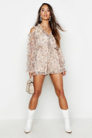 Womens Grey Floral Chiffon Ruffle Cold Shoulder Playsuit