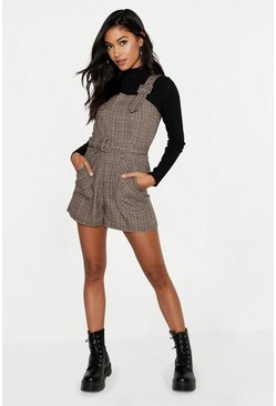 Womens Brown Check Buckle Strap Belted Pinafore Romper