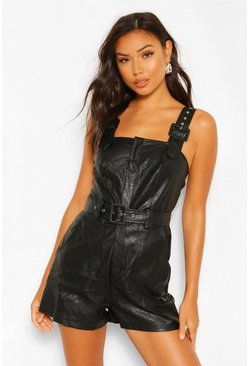 Womens Black Pu Leather Look Belted Pinafore Romper