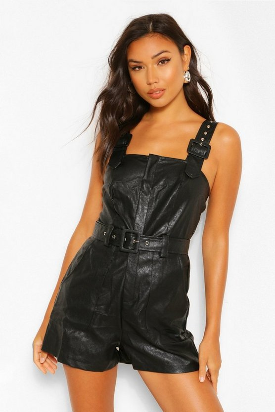 Womens PU Leather Look Belted Pinafore Playsuit