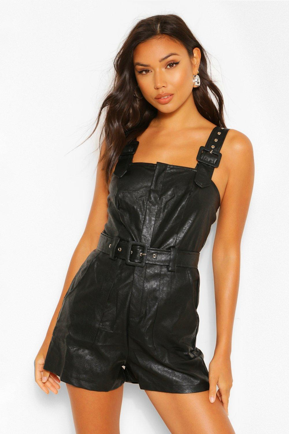 599bb272e760 Pu Leather Look Belted Pinafore Romper. Hover to zoom