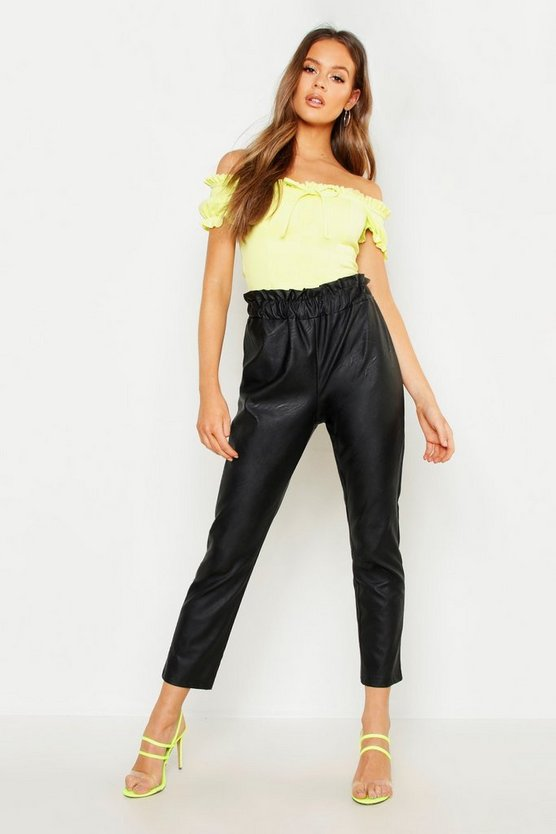 Womens Black Paperbag Waist Leather Look PU Trouser