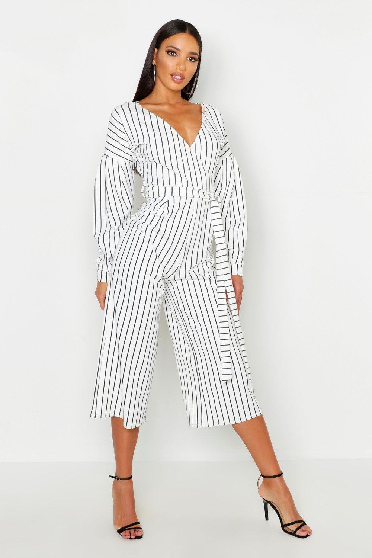 Striped Off The Shoulder Culotte Jumpsuit