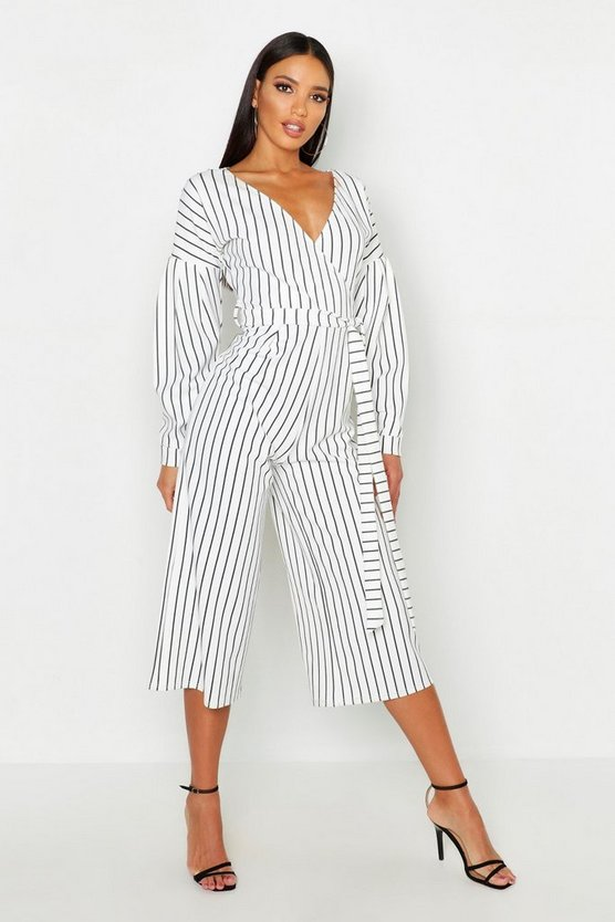 Womens White Striped Off The Shoulder Culotte Jumpsuit
