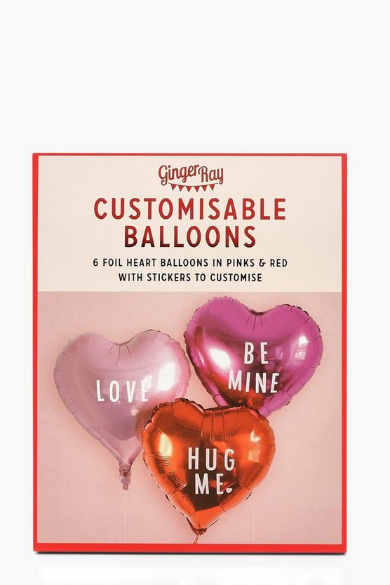 Valentine Heart Foiled Balloons With Stickers