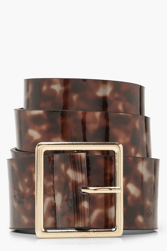 Tortoiseshell Effect Wide Buckle Belt