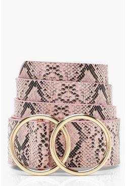 Womens Pale pink Double Circle Faux Python Belt