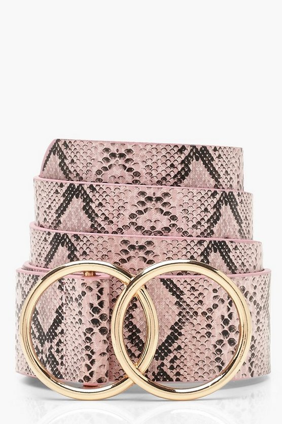 Double Circle Faux Python Belt