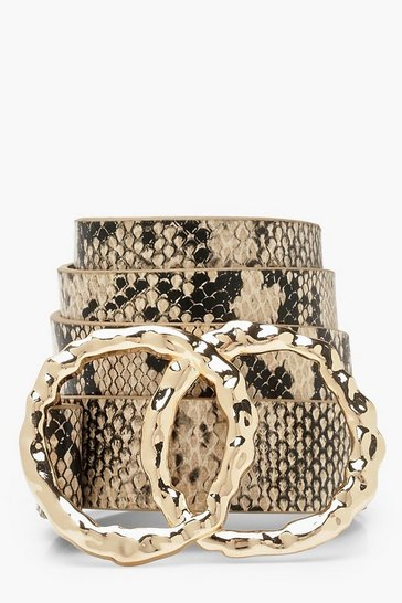 Womens Natural Hammered Double Circle Snake Belt