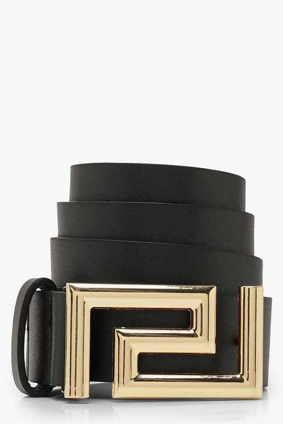 Womens Black Geo Buckle Boyfriend Belt
