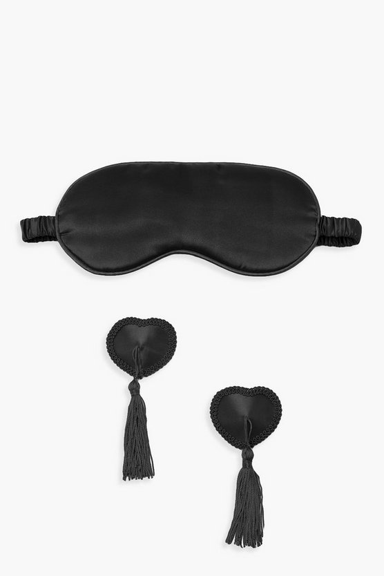 Womens Black Heart Nipple Tassel & Eye Mask Set