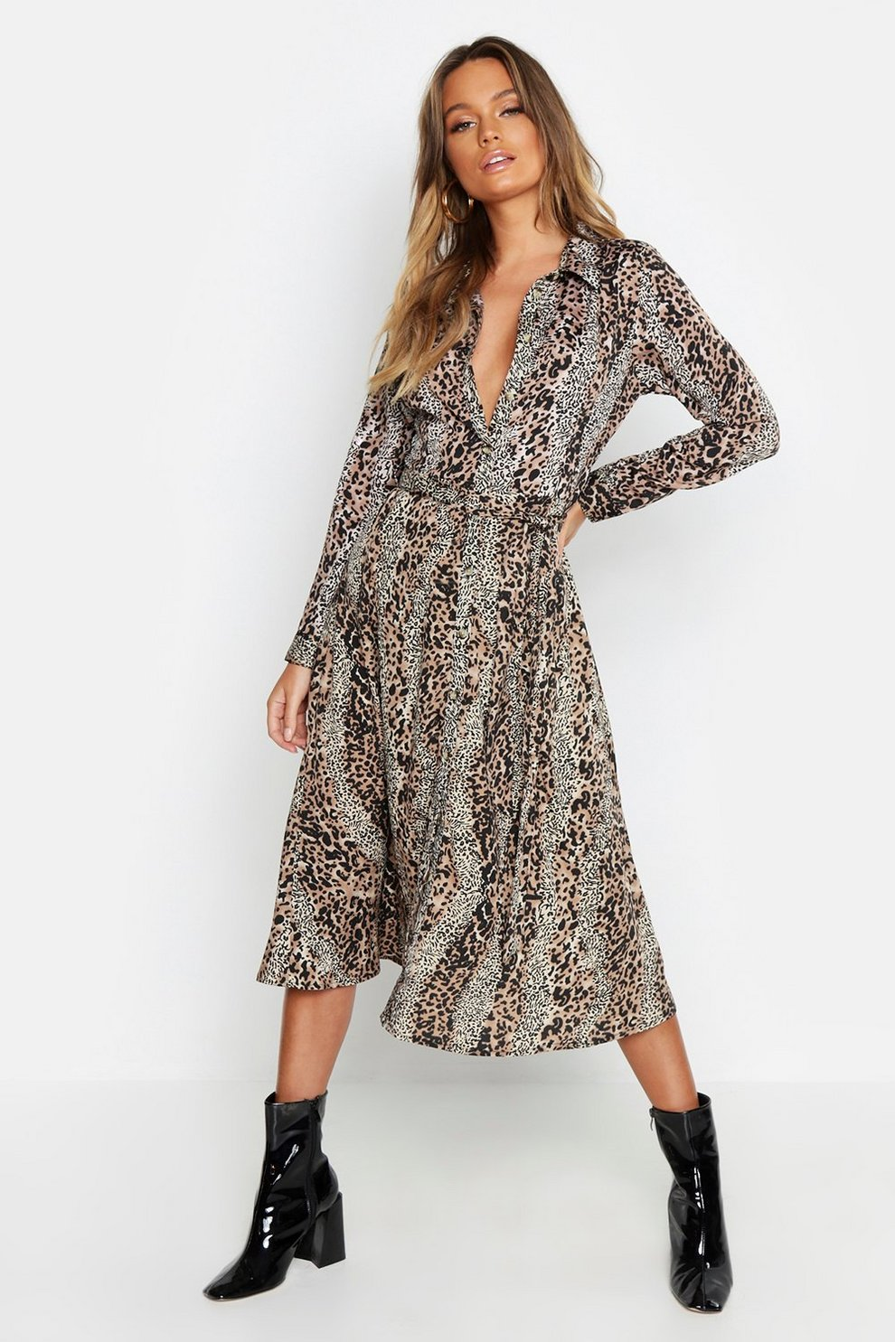 3881f47d319 Chocolate Leopard Print Belted Midi Shirt Dress