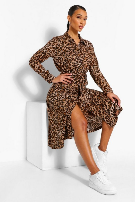 Womens Chocolate Mixed Leopard Print Belted Midi Shirt Dress