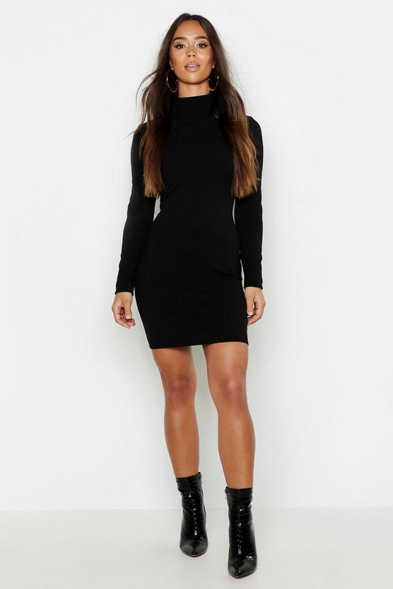 Womens Black Neon Rib High Neck Long Sleeve Mini Dress