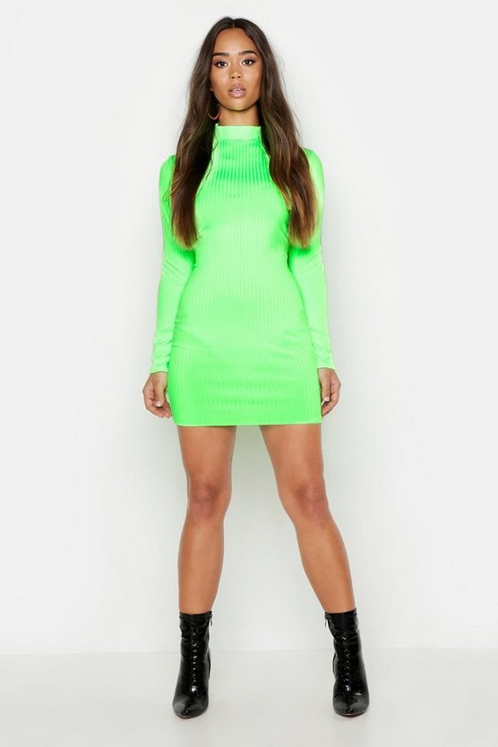 Neon Rib High Neck Long Sleeve Mini Dress