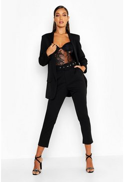 Womens Black Self Belt Tailored Pants