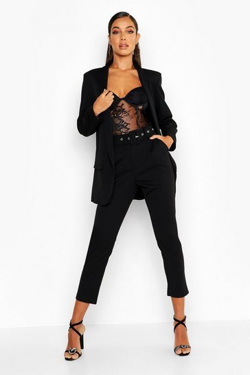 Womens Black Self Belt Tailored Trouser