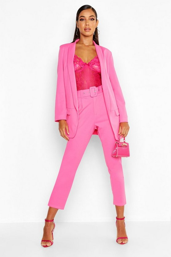 Hot pink Self Belt Tailored Trouser