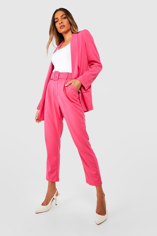 59657cedddda0 Pantalon ajusté à ceinture, Rose vibrant, Femme. Fais glisser pour zoomer