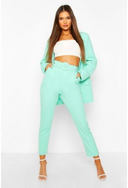 Mint Self Belt Tailored Trouser
