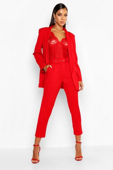 Womens Red Self Belt Tailored Trouser