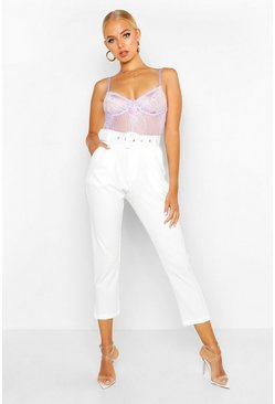 Womens White Self Belt Tailored Pants