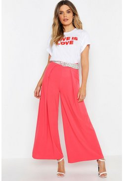 Womens Pink Woven Wide Leg Trouser