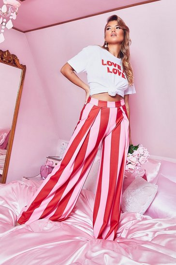 Womens Pink Woven Stripe Wide Leg Trouser