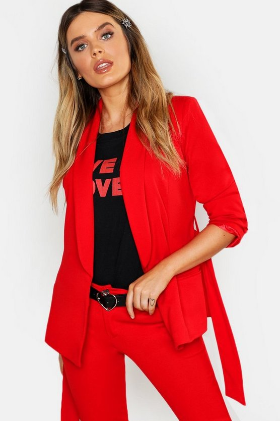 Womens Red Tie Waist Blazer