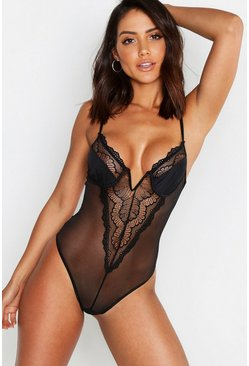 Womens Black Premium Lace V Bar Bodysuit