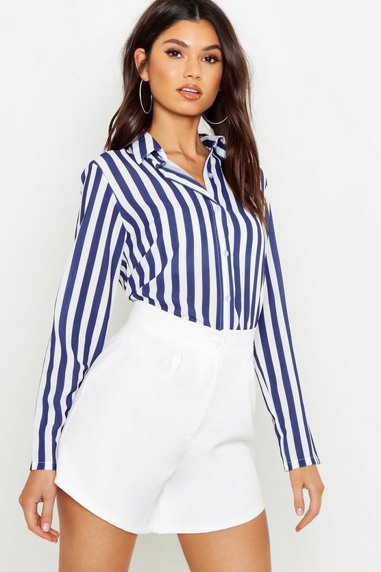 Womens Navy Woven Stripe Shirt