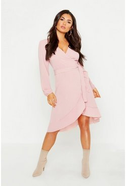 Womens Pink Woven Ruffle Wrap Midi Dress