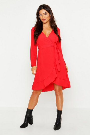 Womens Red Woven Ruffle Wrap Midi Dress