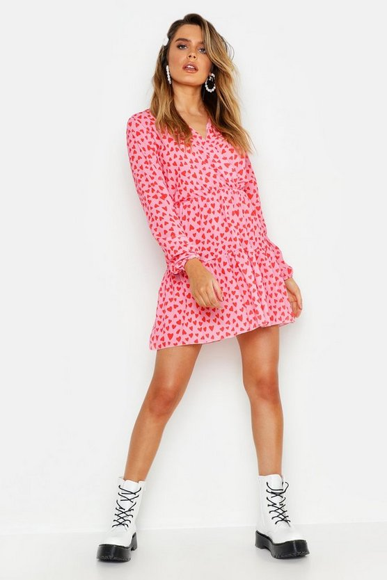 Womens Pink Woven Heart Print Wrap Dress