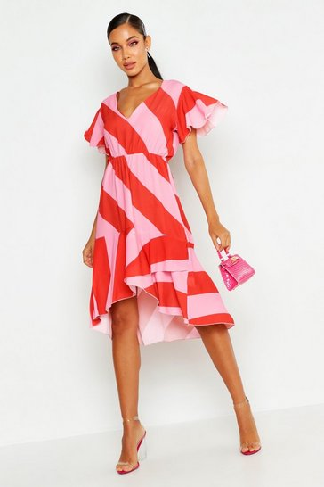 Womens Red Woven Stripe Midi Dress
