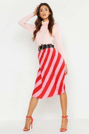 Pink Woven Stripe Pleated Skirt