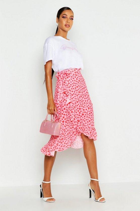 Woven Heart Print Ruffle Midi Skirt Woven Heart Print Ruffle Midi Skirt by Boohoo
