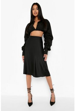 Black Satin Bias Cut Slip Midi Skirt