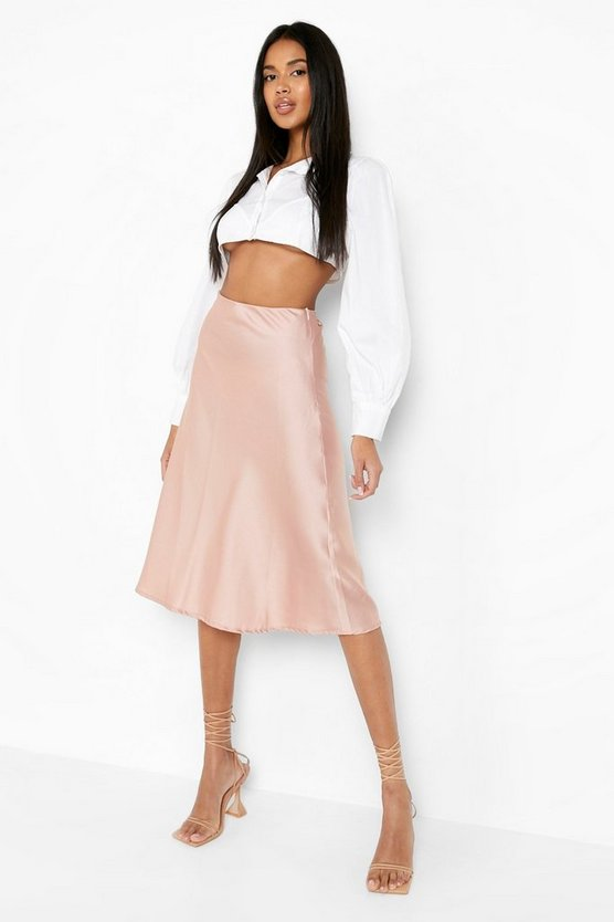 Womens Pink Satin Bias Cut Slip Midi Skirt