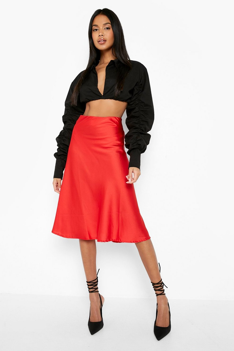 1f6ad53b364 Womens Red Satin Bias Cut Slip Midi Skirt